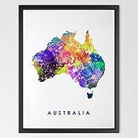 dignovel Studios Australia Mappa acquerello illustrazioni stampa Artistica regalo di nozze Wall Art Poster Da Parete Decorazione Casa Decorazione da parete Mappa del mondo Stampa n205-unframed
