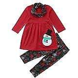 Selou Netter Anzug der Babyart und weise Schneemann-Druck oben Weihnachtsausrüstung Hosen Dunkle, schmale Hosen Roter Pullover für Kinder Pullover Dreiteiliger warmer Kragen