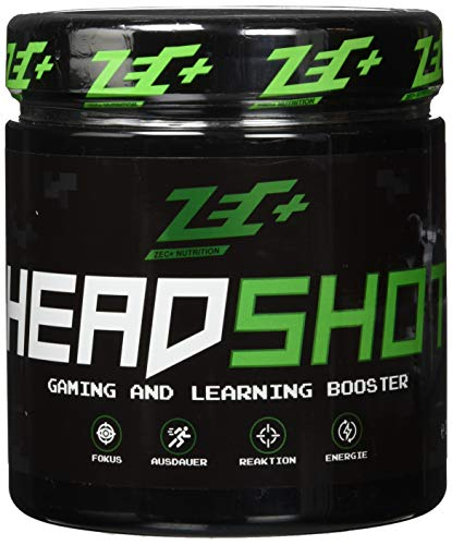 ZEC+ HEADSHOT GAMING- & LEARNING BOOSTER - 280 g Brain Booster Pulver, Gaming-Supplement als Koffein-Drink für Gamer, hochdosiertes Koffein aus Guarana-Extrakt -
