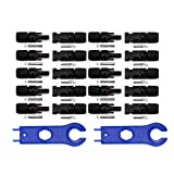 Nuzamas New 10 Sets of MC4 Solar Panel Connector Female for PV Solar Panel Cable and 1 Pair Solar Panel MC4 Tool Key Spanner for Connector Assembly