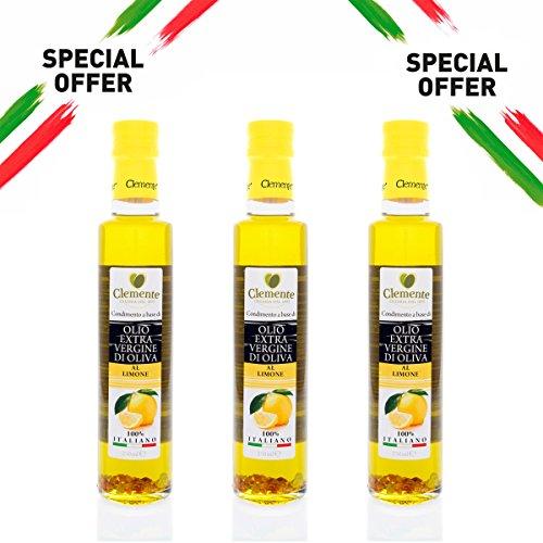 Olio clemente - 3 bottiglie di olio extra vergine di oliva, 100% italiano, aromatizzato al limone, 250ml