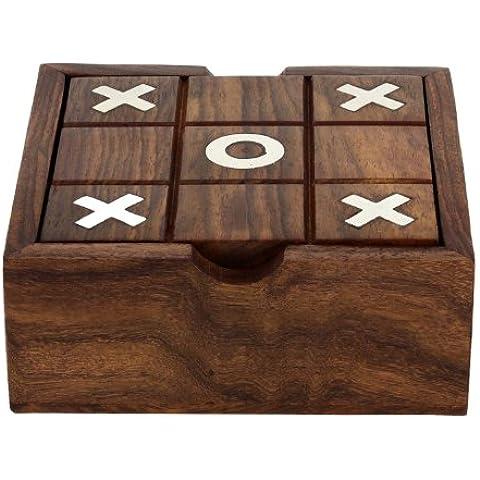 2 in 1 in legno gioco set - tic tac toe e solitario gioco da tavolo - gioco da tavolo per la famiglia - regalo di compleanno idea - 3.81 x 12.7 x 12.7 cm - Deck Box Piazza