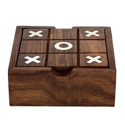 Tic Tac Toe Solitaire 2-in-1 Travel Board Game Vintage Wooden Handmade - 5 Inch
