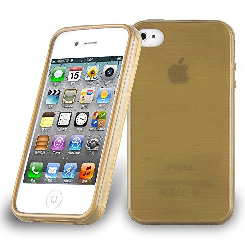 Cadorabo - Etui Housse Gel (silicone) pour Apple iPhone 4 / 4S Design: METAL BROSSÉ (brushed cover) - Etui Coque Case Cover Bumper en BLEU OR