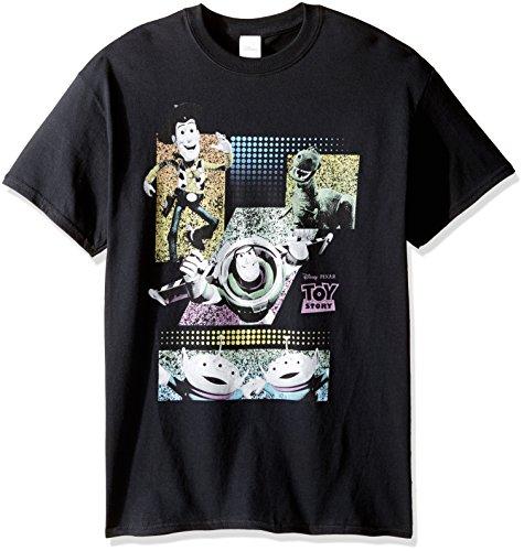 Disney Herren T-Shirt Toy Story Pastellfarben - Schwarz - (Buzz Lightyear Kostüm Für Herren)