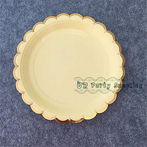 Freies Schiff 80Pcs Pastell Farbige Pappteller Kleine Runde 7-Zoll-Dessert-Platten Für Hochzeit Sun Tea Party Grill Buffet Party, Hellgelb Yellow Tea Platte
