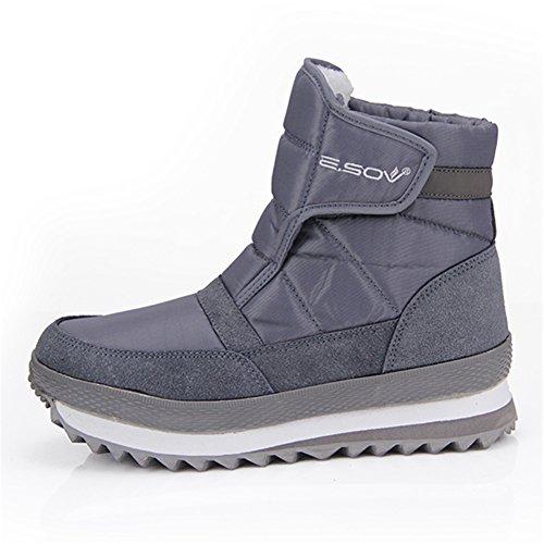Unisex Schneestiefel Gracosy Winterstiefel Warm Gefütterte Schuhe Winter Bootsschuhe Kurzschaft Stiefel Grau 41