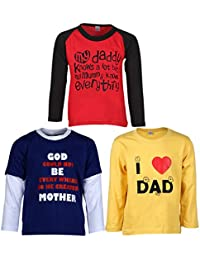 Goodway Pack of 3 Boys Full Sleeve Colour T-Shirts Mom & Dad Theme-3-9-10Years