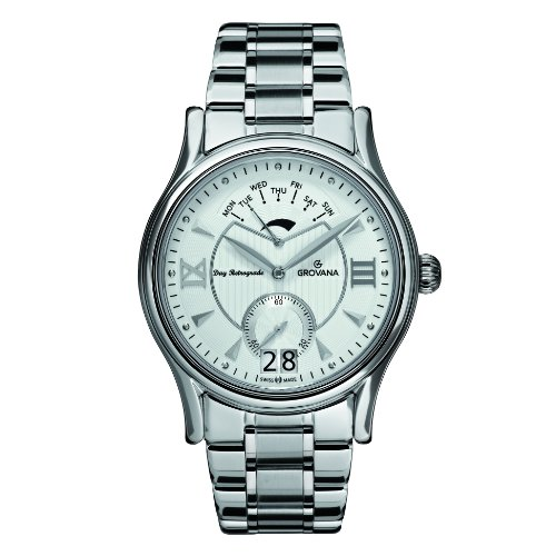 GROVANA-17151132-Mens-Quartz-Swiss-Watch-with-Silver-Dial-Analogue-Display-and-Silver-Stainless-Steel-Bracelet
