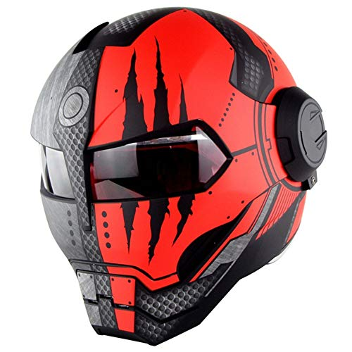 QIXING Casco Moto D.O.T Certificato Casco Moto Integrale Casco Moto Flip Open Mask, Iron Man Transformers,M
