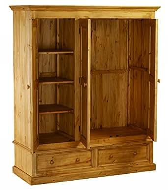 """Armoire 3 portes 2 tiroirs Pin massif """"Couleurs des Alpes"""" Meuble House"""