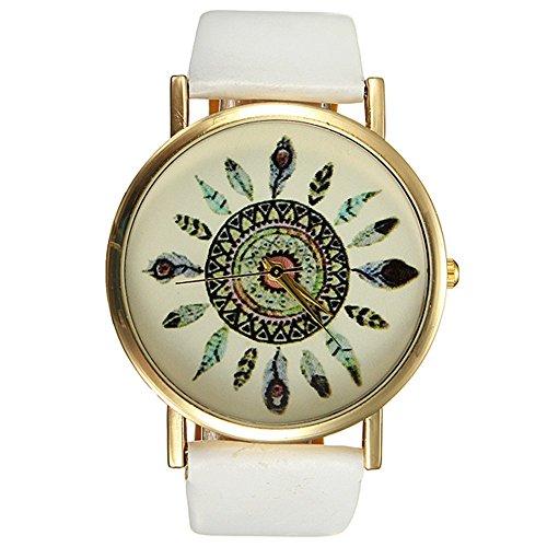 Geneva Orologio Bracciale piuma di pavone pelle quarzo donna Wrist Watch gioielli vintage bianco