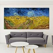 HODE79- Quadro Artistico su Tela di Alta Risoluzione e Grande Dimensione- Van Gogh- Campo di Grano (120_x_60_c