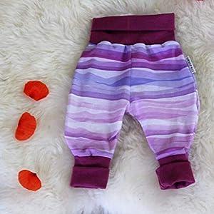 Baby Pumphose Schlupfhose newborn Gr. 56-68 Stripes lila