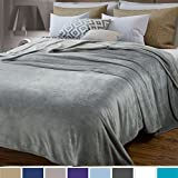 BEDSURE More than comfort Flannel Blankets Bedspread Queen Size Silver Grey - Luxury Large Bed Fleece Blankets Super Soft Fluffy Warm Microfiber Solid Blanket 230x230cm by Bedsure
