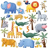 RoomMates Repositionable Childrens Wall Stickers Jungle Adventure
