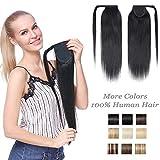 Extension Queue de Cheval Naturel Rajout Vrai Cheveux Humain Postiche Femme Ponytail 100% HUMAN HAIR 16 Pouces (40cm) - #01 Noir Foncé