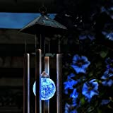 Funciona con energía solar cambia de color luz carrillón de viento giratorio lámpara de luz LED para patio jardín hogar Festival Decoración, plástico, negro