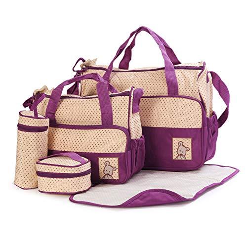 XY-women's bag Pelle Collezione Borsa Pannolini, Pannolini Borsa Grande per papà Mamma, Multifunzione, 5 Pezzi Moda (Color : Purple)