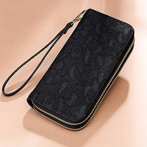 YUEKUOO Wristlet Wallet for Frauen, Double ZipperCard Holder Ladies Clutch Purse (Color : Schwarz) -