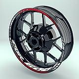 Felgenaufkleber Set Honda CBR600F für Motorrad   17 Zoll   Felgenrandaufkleber & Felgenbettaufkleber   Vorder- & Hinterreifen Komplett-Set (Einfach - glänzend)