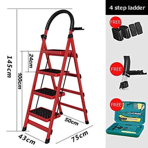 Plegable Escalera,multifunción Escaleras De Mano Antideslizante Pesada Deber Escalera Para El Hogar Cocina Oficina Almacén-rojo4 43x75x145cm(17x30x57inch)