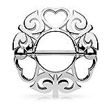 Paula & Fritz® Brustwarzenpiercing aus Edelstahl Chirurgenstahl 316L Silbern Motiv: Wachsende Herzen
