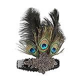 1920s Headband,1920s Headpiece,KQueenStar Peacock Feathers Headband 1920s Handmade headpiece,Black