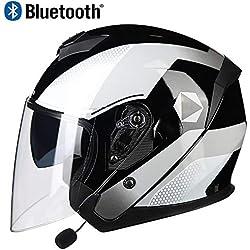 Professionnel 3/4 Casques Jet de Moto avec Écouteur Bluetooth, Léger Harley Open-Face Helmet Moto Casquettes avec ABS Shell, pour Motocross Racing, Approuvé par Le Dot et ECE