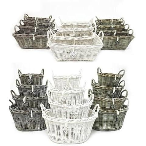 Bianco Grigio Shabby Chic cucina frutta cestini di vimini con cesta, Neutral, Small (O) 22x17x19cm