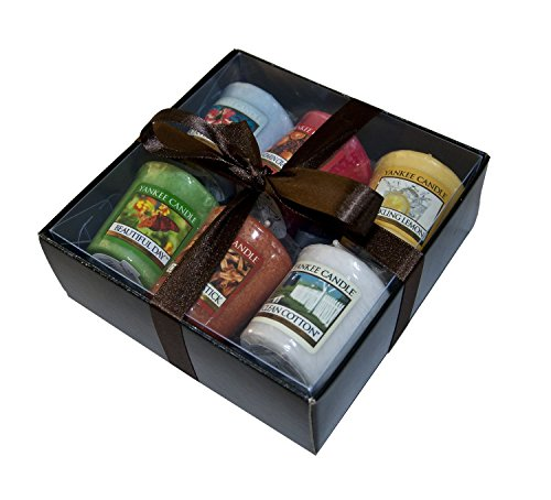 Yankee-Candle-luxury-Christmas-6-Sampler-Pack-Gift-Wrapped-in-Gold-Box-Gold-Tissue-Gold-Ribbon-includes-WHITE-CHRISTMAS