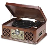 Wooden Brown Retro 6 in 1 Music Centre System CD Player MP3 USB Radio 3 Speed Turntable & AUX Function.