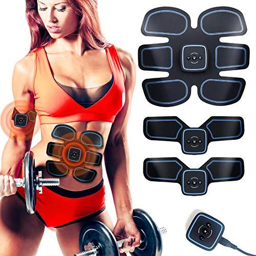 EGEYI EMS Trainingsgerät,Bauchmuskeltrainer Muskelstimulator USB Wiederaufladbar,ABS Stimulator EMS Elektrostimulation Muskel Trainer für Arm Bauch Beine,10 PC Gel-Auflagen