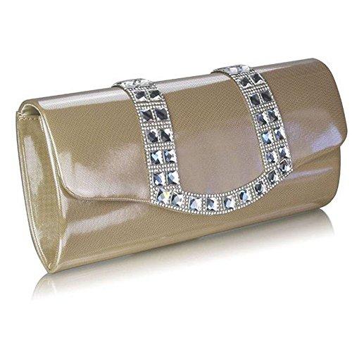 TrendStar Damen Patent Kupplungs Beutel Damen Abend Partei Brautkleid Konstrukteur Handtasche Abschlussball Hochzeit Nude