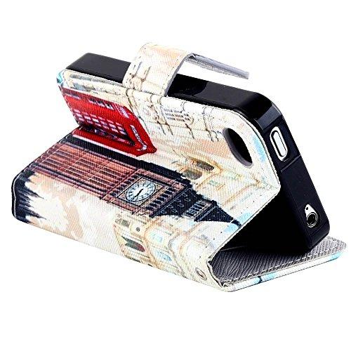 MOONCASE pour Apple iPhone 4 / 4S Case Cuir Housse de Protection Coque en Portefeuille Étui à rabat Case DKS19 DKS12 #1221