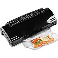 Andrew James Food Vacuum Sealer Machine With 15 Reusable Food Saver Bags | 2 in 1 Seal Only or Vacuum and Seal Easy One Touch Operation | For Sous Vide Cooking or Space Saving | 110w 0.75bar