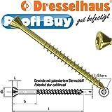 JD Plus Dielenschrauben 3,5mm x 60mm | VE = 500 Stück | Senkkopf mit Fräsrippen, I-Stern T10, galv. verzinkt, gelb chromatiert