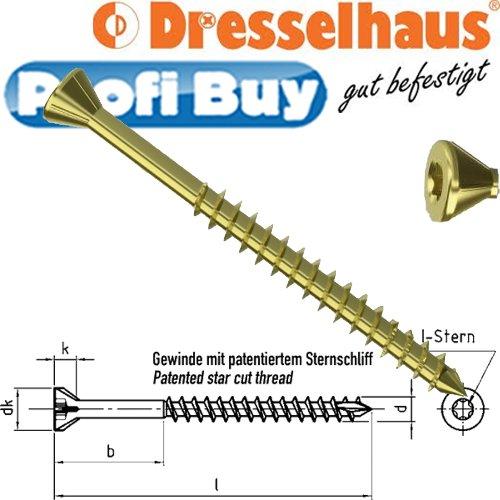 Profi-Buy JD-Plus Dielenschrauben gelb verzinkt | 4,0MM x 70MM | VE: 200 STCK | Senkkopf mit Fräsrippen und I-Stern | TX 15