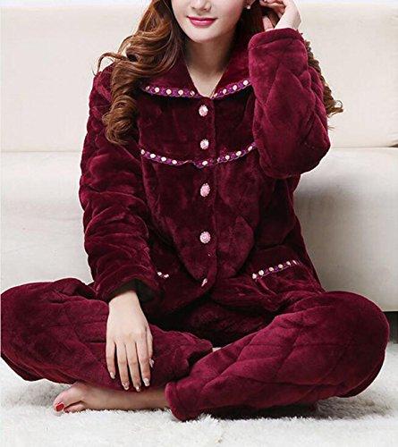 Set Di Pigiama A Maniche Lunghe Donna Con Pantaloni Comodi Indumenti Da Notte Red