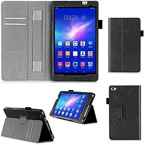 ISIN Funda para Tablet Serie Funda de Premium PU con Stand Función para Huawei Mediapad M2 8 de 8,0 pulgadas 801 802 803 WIFI 4G LTE Android Tablet con Velcro Correa para la Mano y Ranuras para Tarjetas