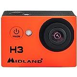 Midland C1235 - Videocámara deportiva (HD 720p, sumergible hasta 30 m, gran angular 120º, pantalla 2' integrada, foto 5 MP) naranja y negro