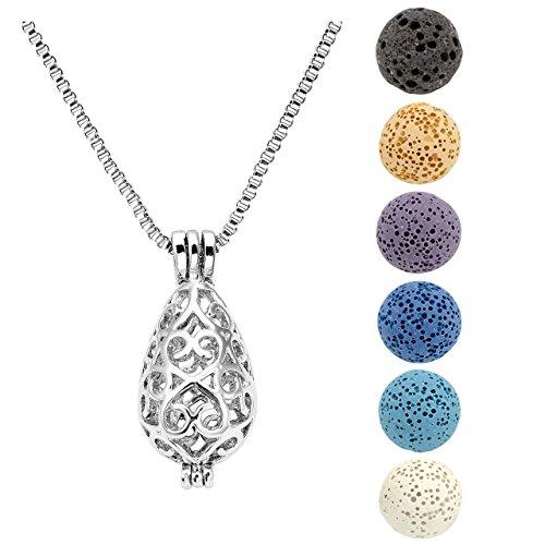 jovivi collana con ciondolo a medaglione, placcato in argento, con diffusore di oli essenziali, per aromaterapia, con 6 sfere colorata in pietra lavica style 1