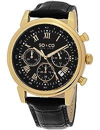 So y de Nueva York Monticello Co para hombre reloj infantil de cuarzo con esfera analógica y negro correa de piel 5059,3