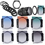 Neewer® Stufenweise Neutral Density Filterset umfasst Set: (3) abgeschufte Grau ND Filter Set (ND2, ND4, ND8) + (3) abgeschufte Farbfilter -Set (grün, orange, blau) + (9) Metall-Adapterringe (49mm, 52mm, 55mm, 58mm, 62mm, 67mm, 72mm, 77mm, 82mm) + (1) Quadratisch Filterhalter + (1) Filter Tragetasche - 3