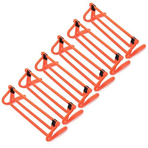 Crown Sporting Goods 6er Pack der Agility Hürden-Neon Orange mit Verstellbarer Höhe Extender & Tragetasche, Multisport PLYOMETRIC Fitness & Speed Trainingsgerät -