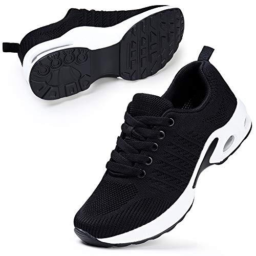 STQ Damen Walking Schuhe Mesh Atmungsaktiv Laufschuhe Air Leichte Outdoor Fitness Schnürschuhe Sportshuhe (Schwarz 40 EU)