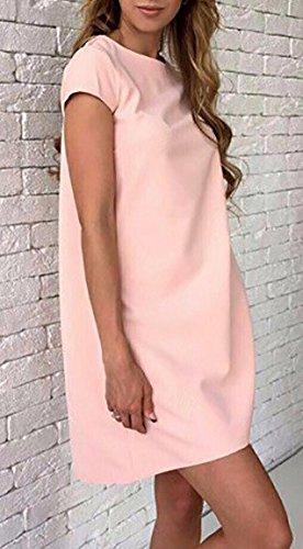 Sommerkleider Damen Kurzarm Rundhals Uni-Farben Locker Elegant Casual Kurz Kleider Blusenkleid Strandkleider Pink