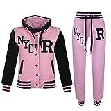 A2Z 4Kids - Tuta da baseball, logo NYC Fox, giacca con cappuccio e pantaloni sportivi, unisex, per bambini da 2a 13anni NYC Baby Pink 13 anni