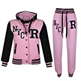 A2Z 4 Kids® Kinder Mädchen Jungen Baseball Trainingsanzug NYC FOX Jacke & Hose - T.S Baseball NYC Baby Pink 11-12