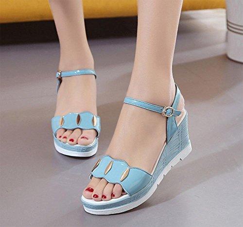 Sommer Sandalen weiblicher Hang mit dicker Kruste Fischkopf Frauen Sandalen vorne offen flache Sandalen Studenten Blue